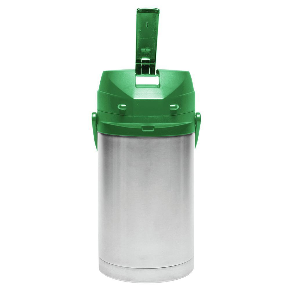 Service Ideas Stainless Steel Airpot with Green Lever Lid 3 L