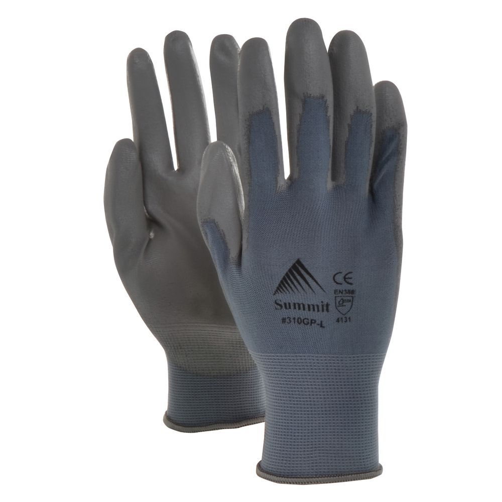 GripTech Work Gloves Seamless 15 Gauge Light Palm /Finger Coating Dozen pr Per Pack Grey Large