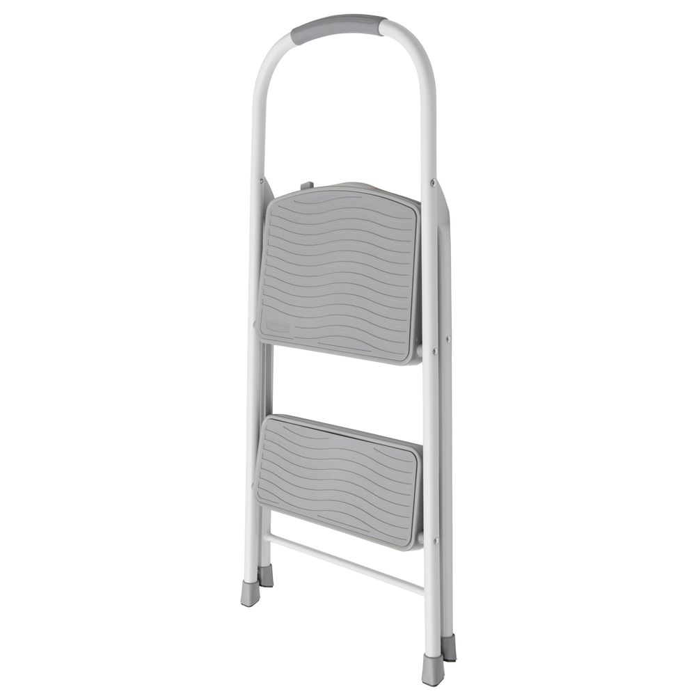 Vestil Yellow Steel 2 Step Ladder With Handrail And Rubber