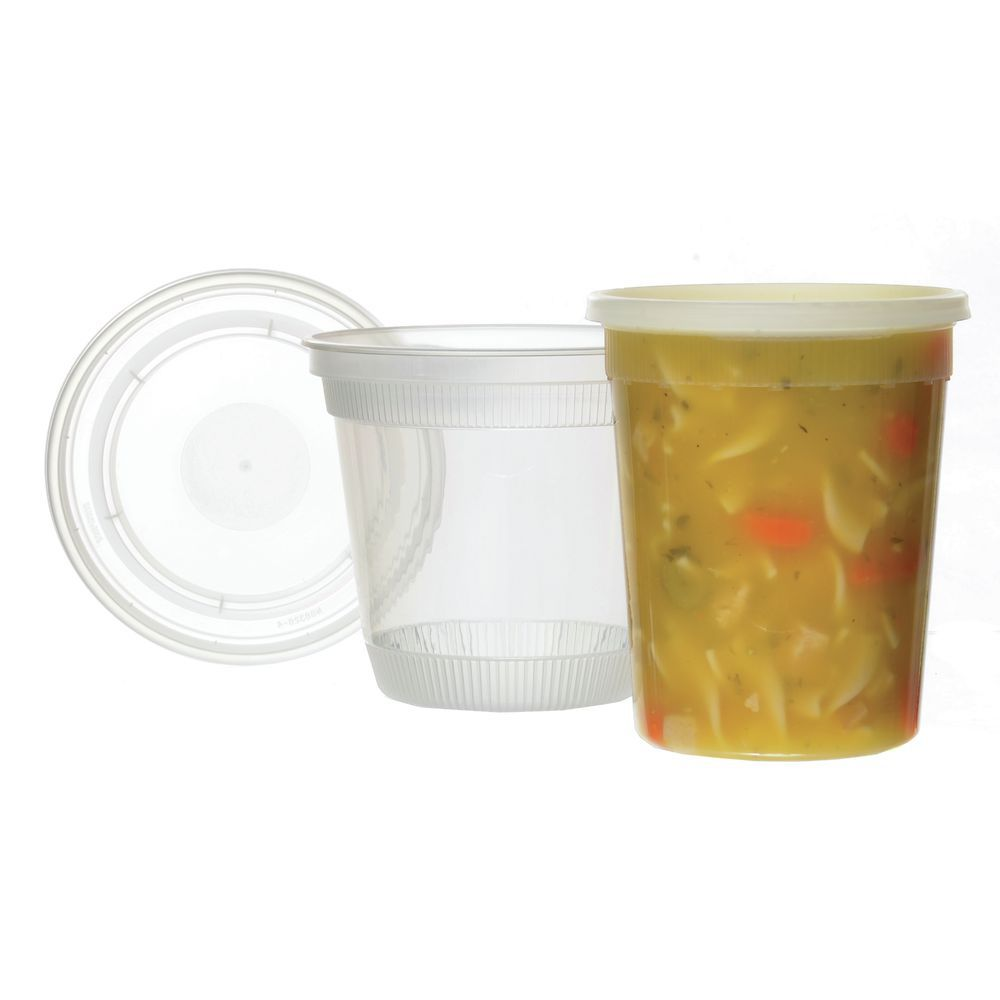 16 Oz Clear Polypropylene Soup Container With Ldpe Lid 4 12dia