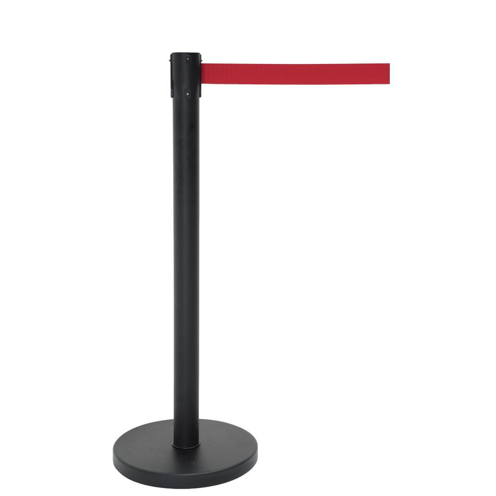 HUBERT<sup>®</sup> Black Stanchion Steel Post with Red Belt and Flat Base