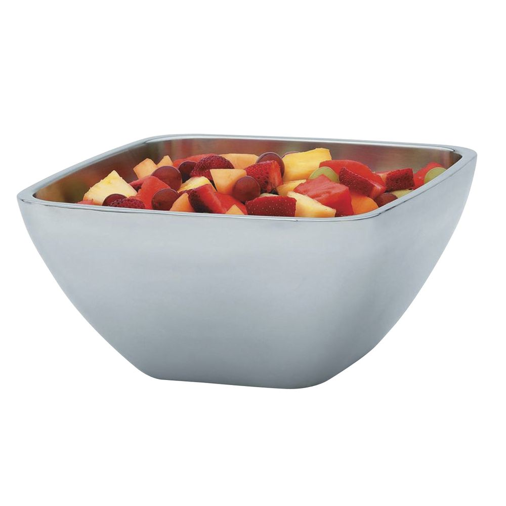"""Vollrath Double Wall Square Serving Bowl 5.2 qt Capacity Stainless Steel 10 3/16""""L x 10 3/16""""W x 5 1/8""""H"""