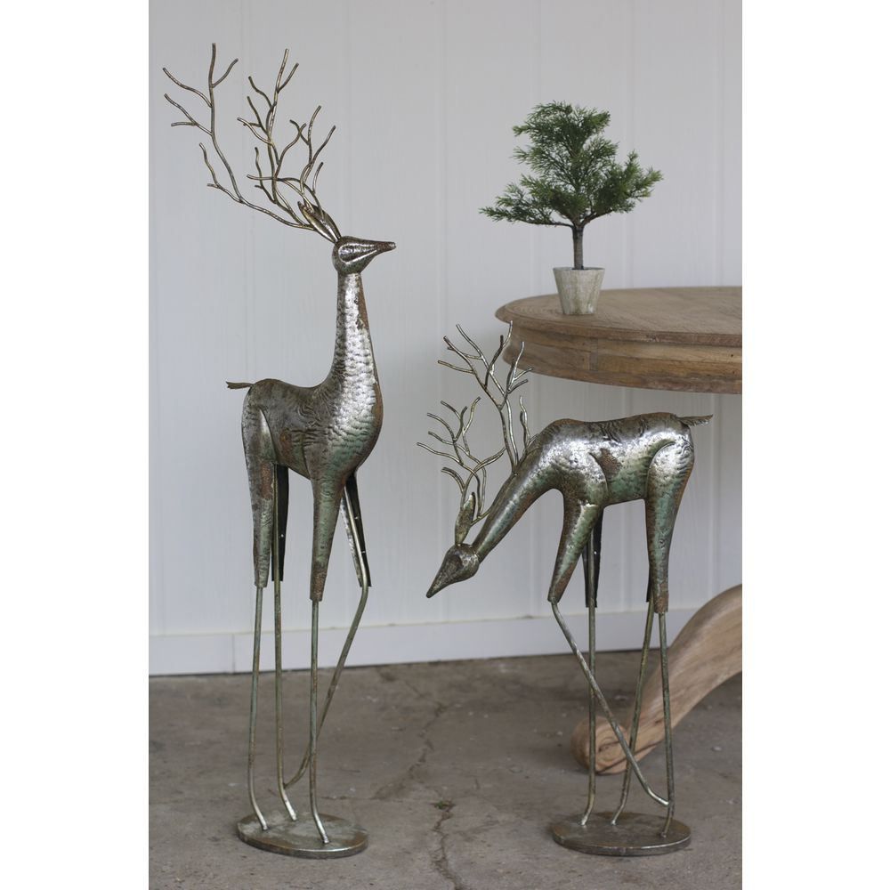 DEER, METAL, ANTIQUE SILVER, SET2