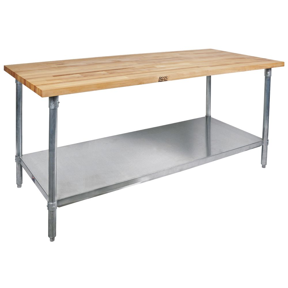 John Boos Stainless Steel Maple Top Work Table With Shelf - 72\