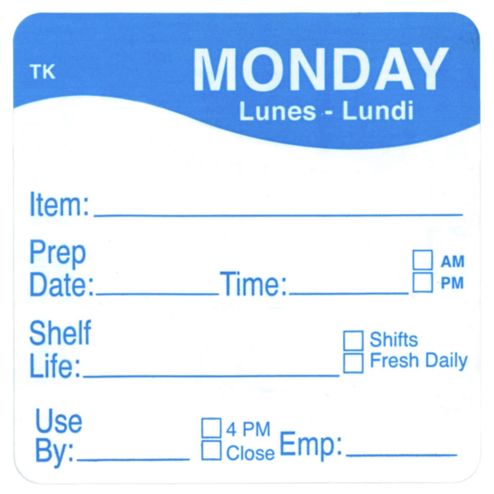 """ToughMark Days Of The Week Labels Blue Monday 2"""" Square"""