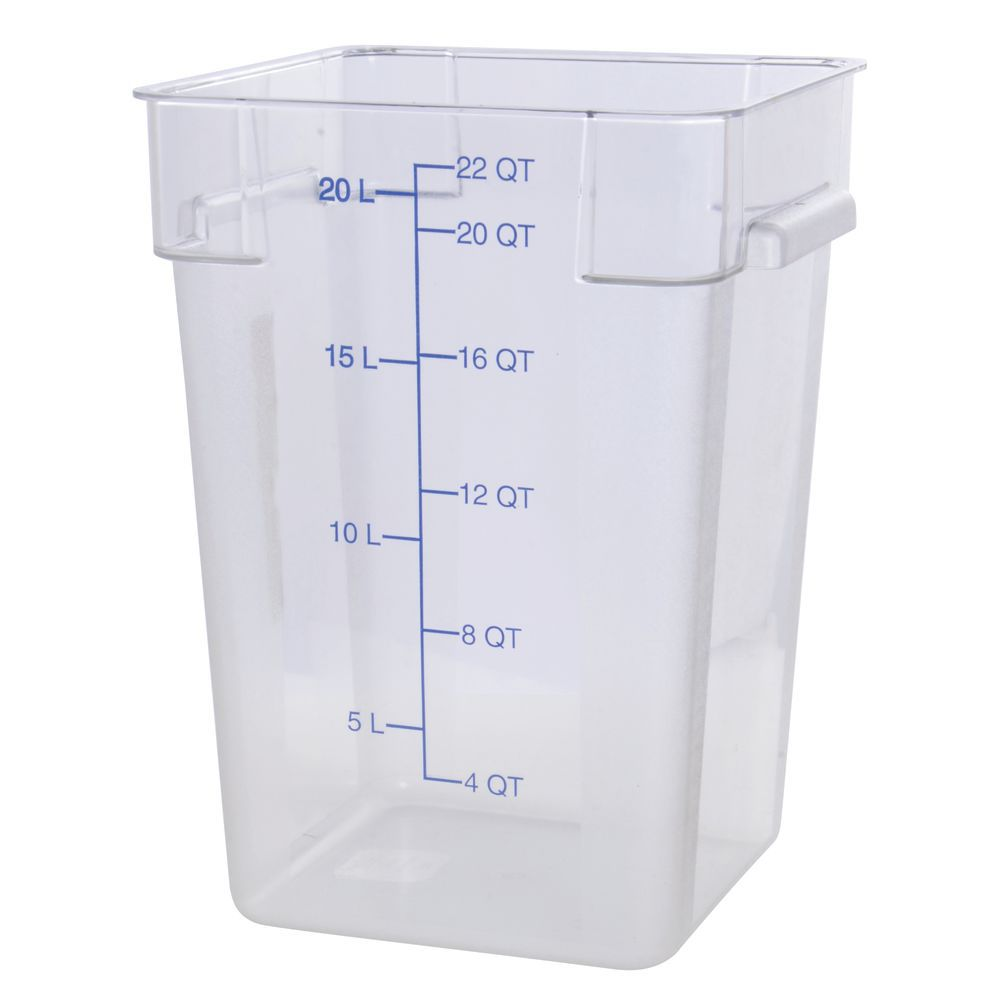 Hubert® Plastic Food Storage  Containers Square 22 qt Clear