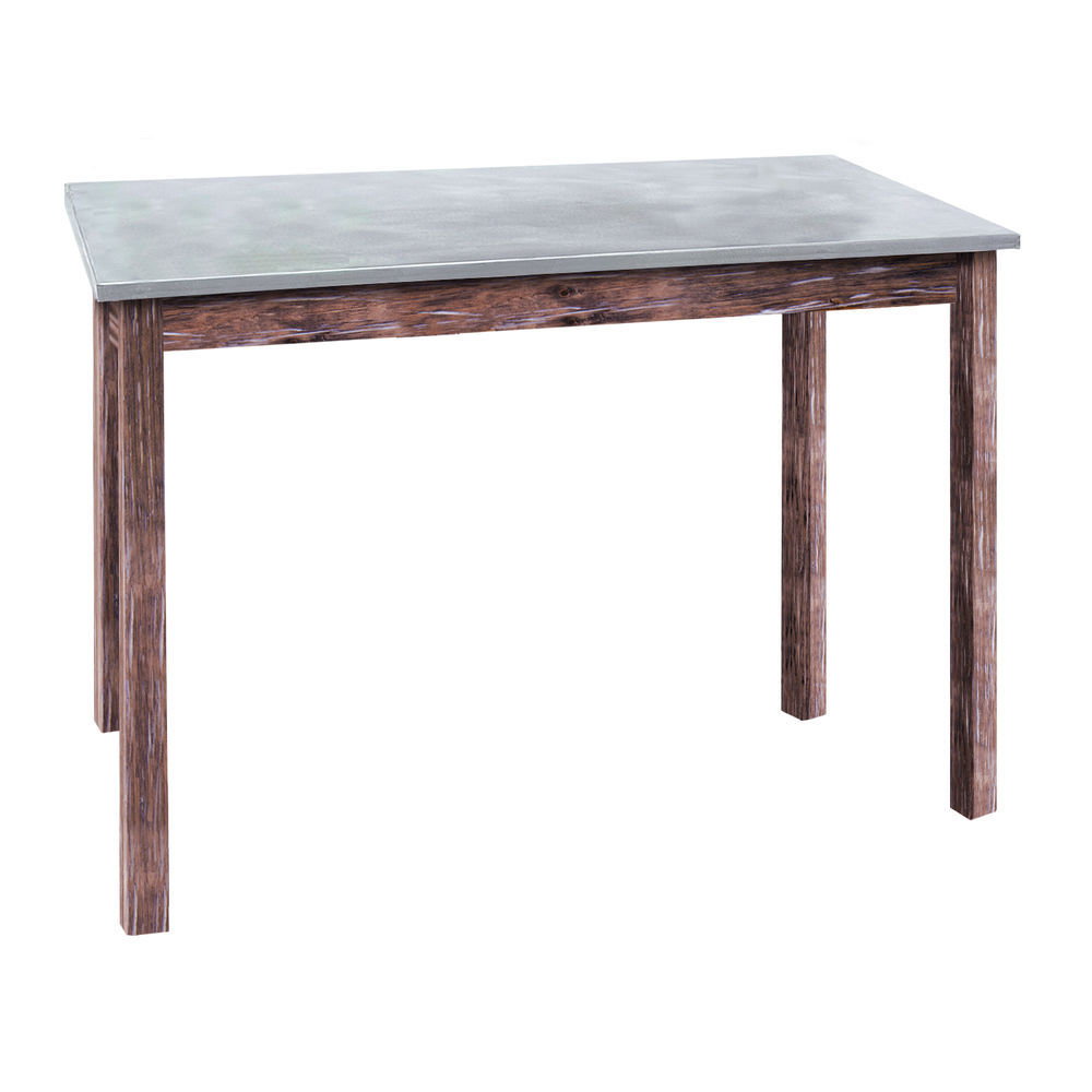 Galvanized Top Table in Rustic Brown Stain