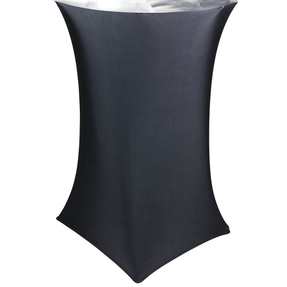 Southern Aluminum Silver Swirl Black Spandex Round Buffet Table Skirting    30Dia X 42H