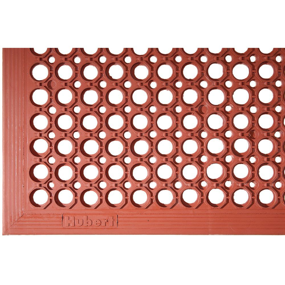 Hubert Red Rubber Grease Resistant Anti Fatigue Drainage Mat 5 L X 3 W X 1 2 H