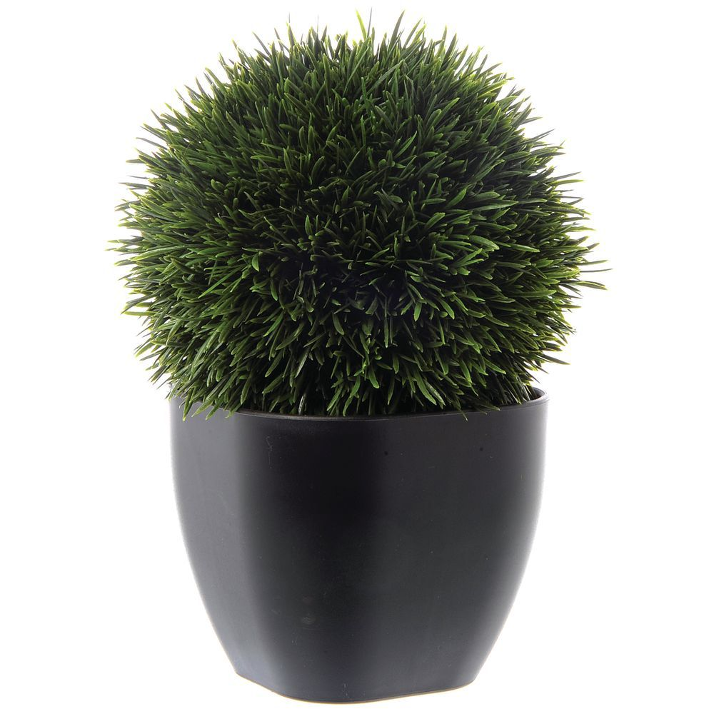 """GRASS BALL, IN BROWN CONTAINER, 11"""""""