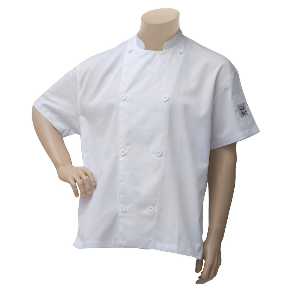 COAT, CHEF, SHORT SLEEVE W/VENT, MED, WHITE