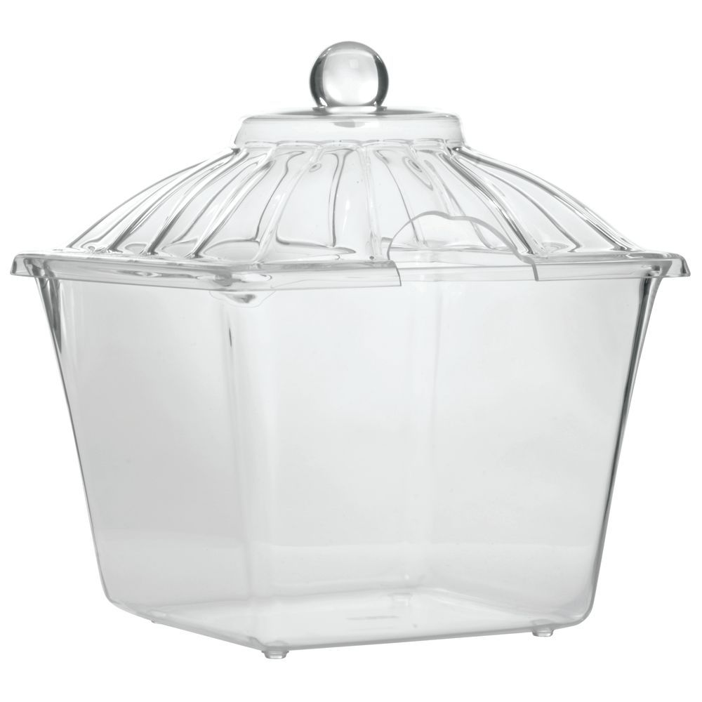 """Delfin Acrylic Amphora Jars in Clear 2 gal with Cut-Out Lid 9 1/2""""L x 9 1/2""""W x 11""""H"""
