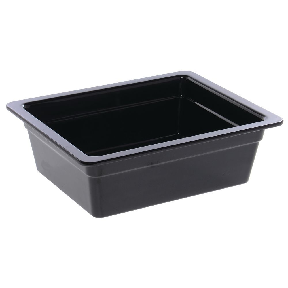 "Cold Food Pan in Black Melamine Half Size 10 3/4""L x 12 3/4""W x 4""H"