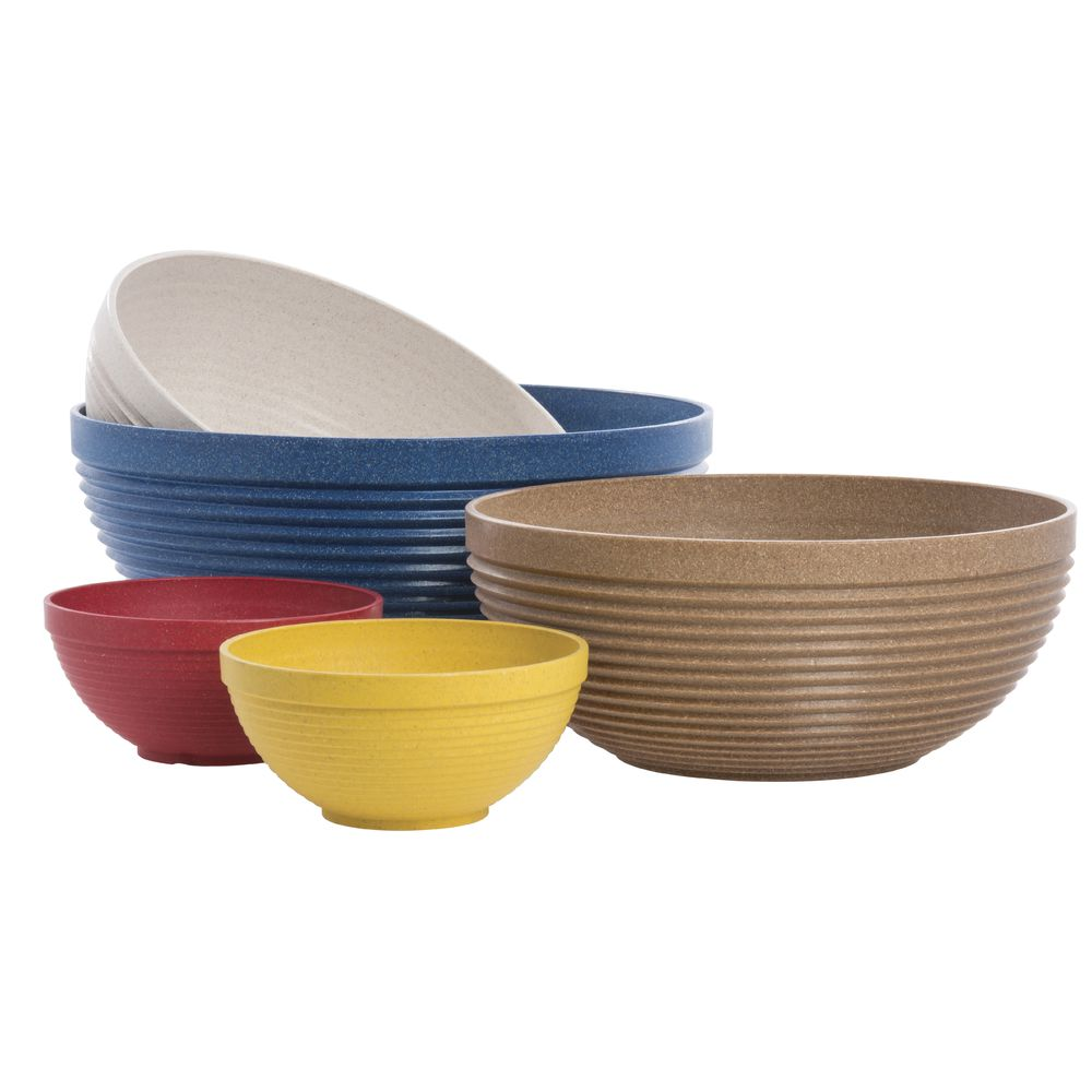 Serving Bowl Yellow Maple Wood And Plastic Fiber Eco-Friendly 12 Dia x 5 H
