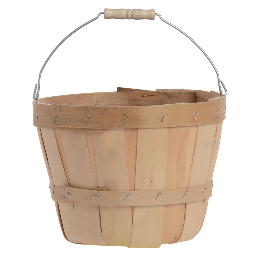 """Natural 1/4 Peck Baskets with Bail Handle 7""""Dia x 5 1/2""""H"""