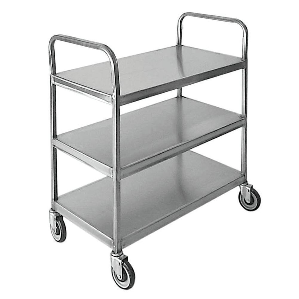 Hubert Stainless Steel 3 Shelf Utility Cart With Double Loop Handle 39 L X 22 D X 44 1 2 H