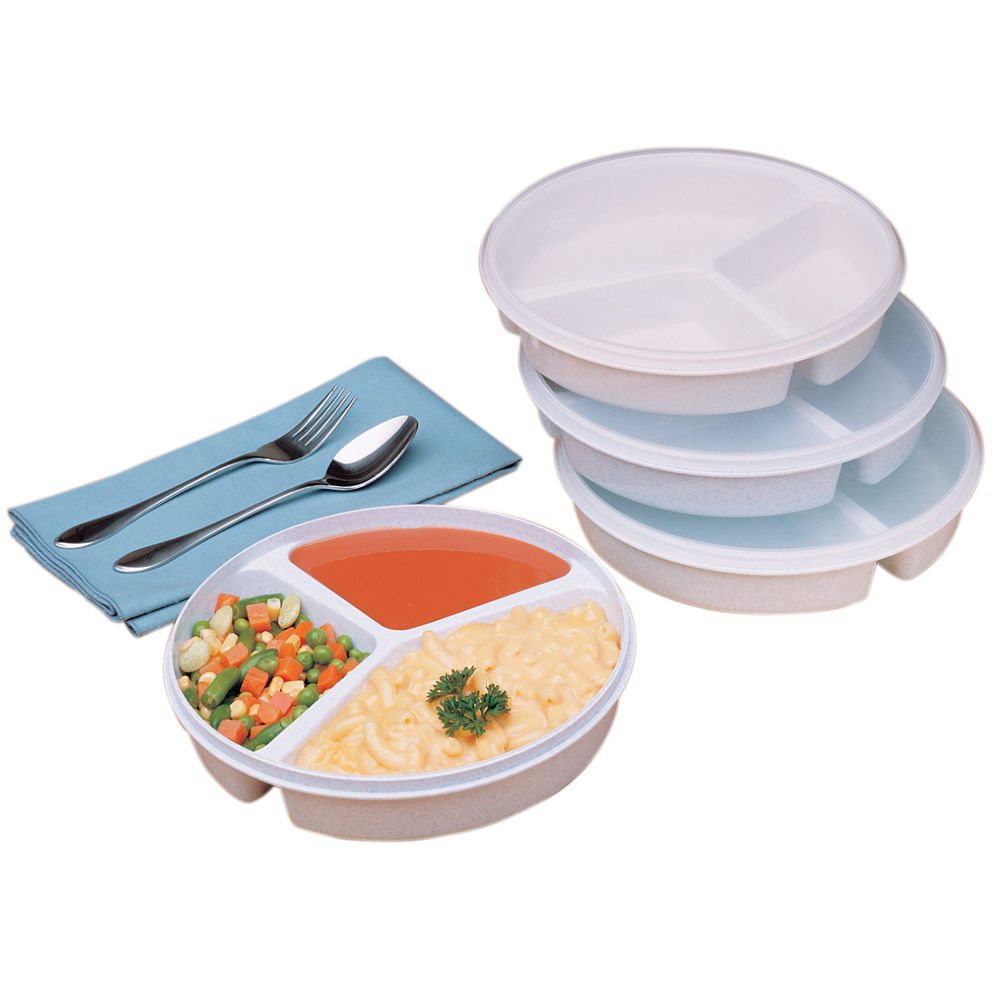DISH, PARTITIONED, SCOOP, W/LID