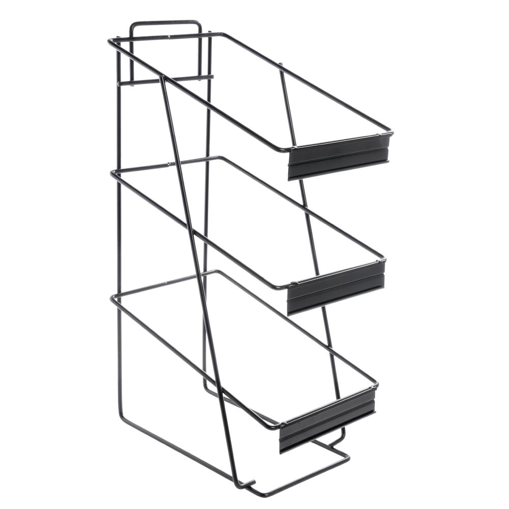 Expressly Hubert 3 Tier Black Wire Basket Stand With Sign Holder