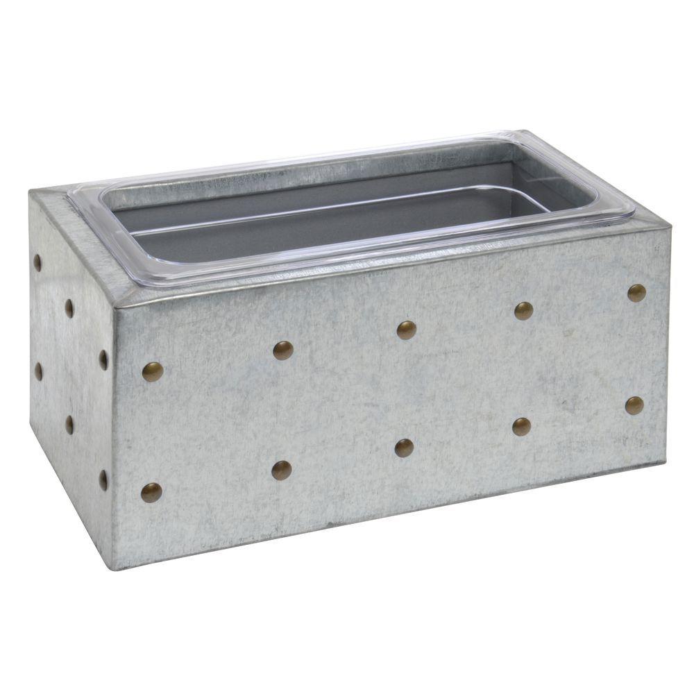 "BOX, 1/3 SIZE, 6-1/2""D, GALVANIZED CHIC"