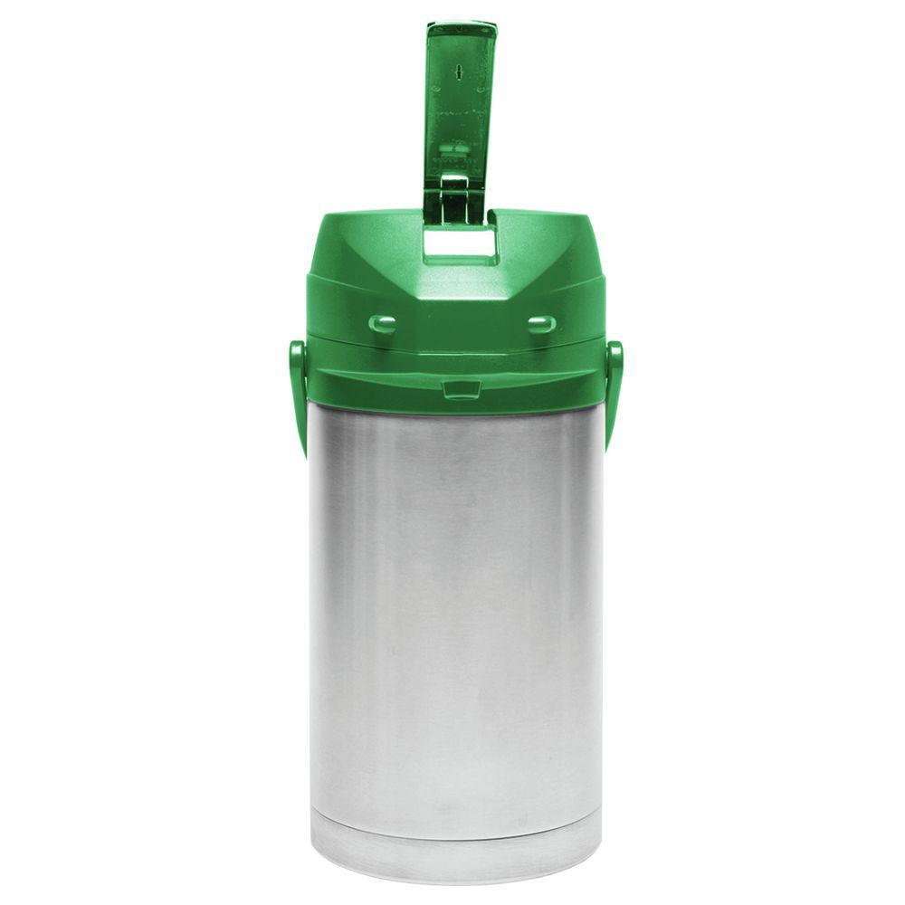 Service Ideas Stainless Steel Airpot with Green Lever Lid 3 7/10 L