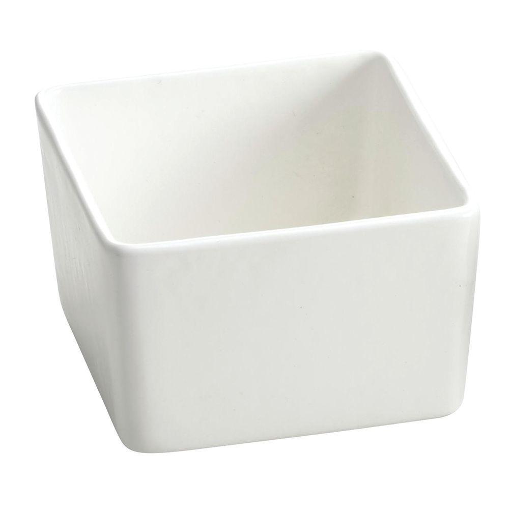 "Heat Resistant Bowl White 4 3/4"" Sq x 3""H"