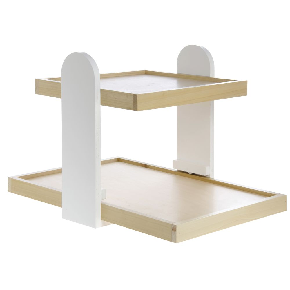 CO DISPLAY, COUNTERTOP, 2-TIER, WHT/NATURAL