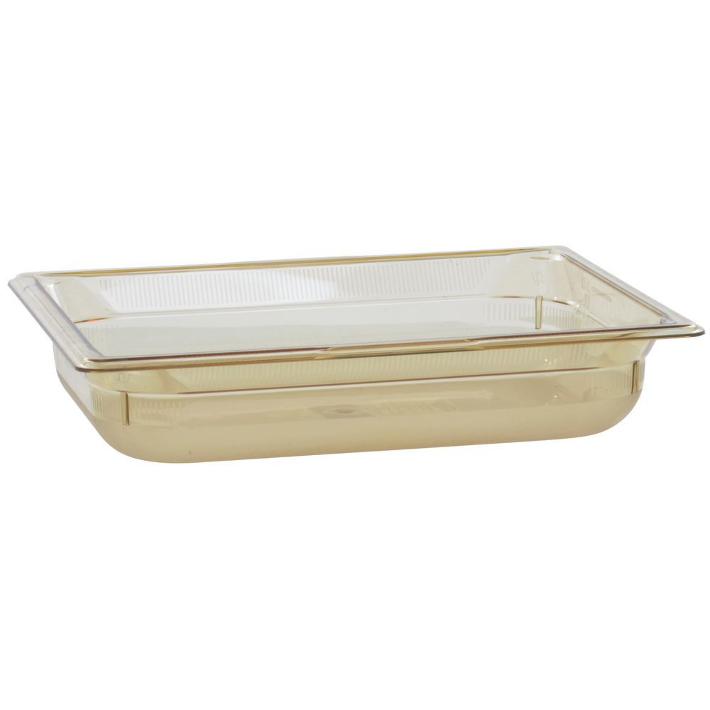 "Vollrath Super Pan Plastic High Temperature Pan Amber 1/2 Size 2 1/2""D"