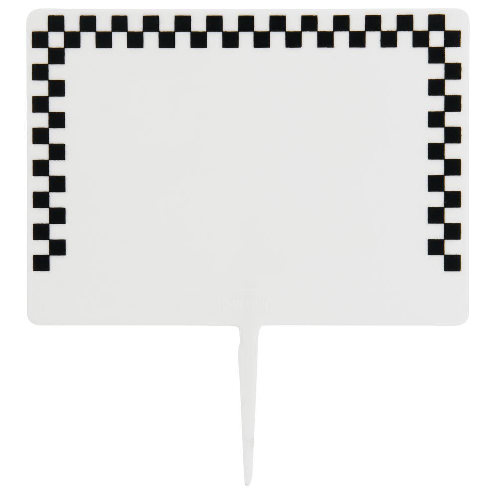 """White Plastic Deli Spear Tags With Black Checked Border 2 1/2""""H x 3 1/2""""L"""