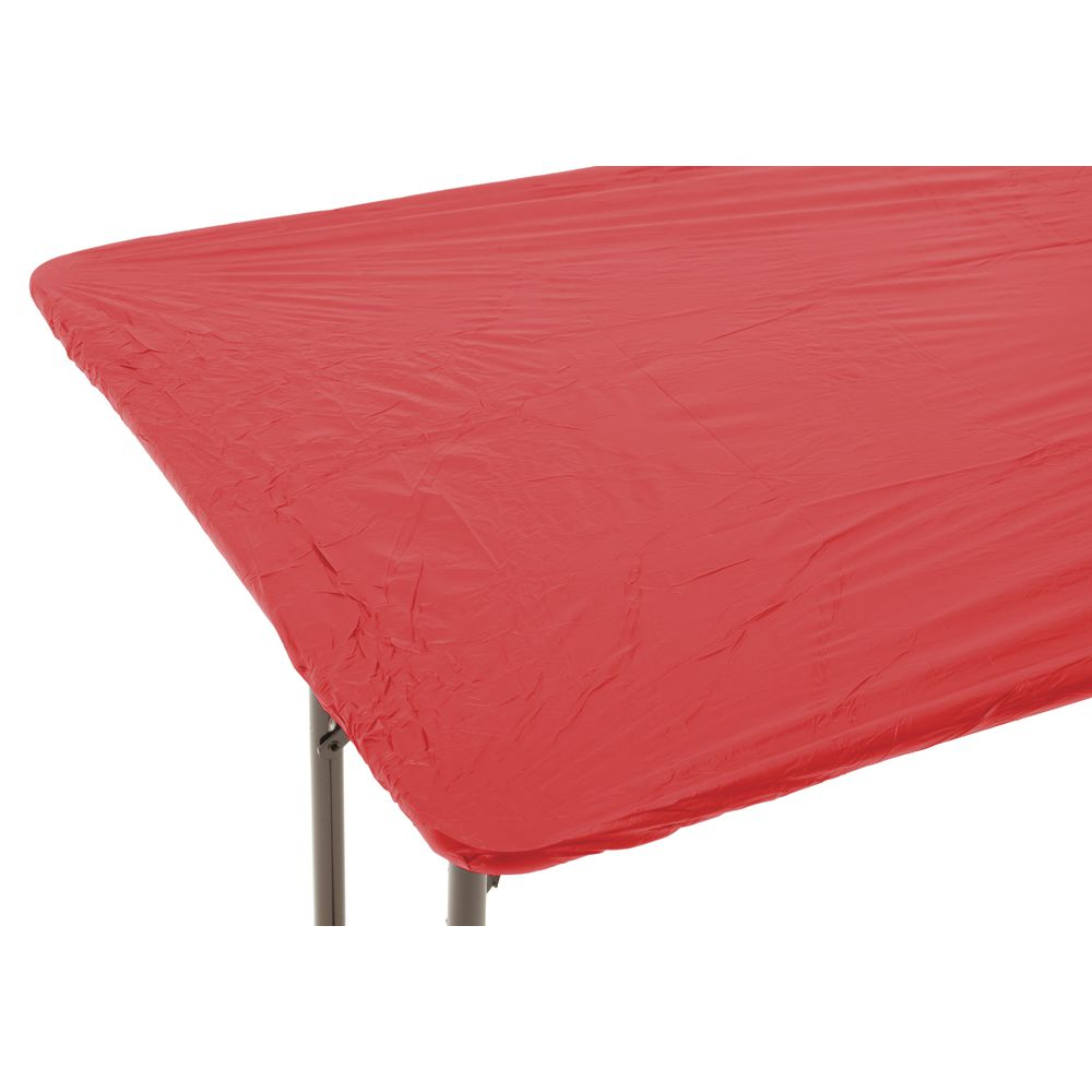 225 & Kwik-Covers© Oblong Red Plastic Disposable Table Cover - 30\