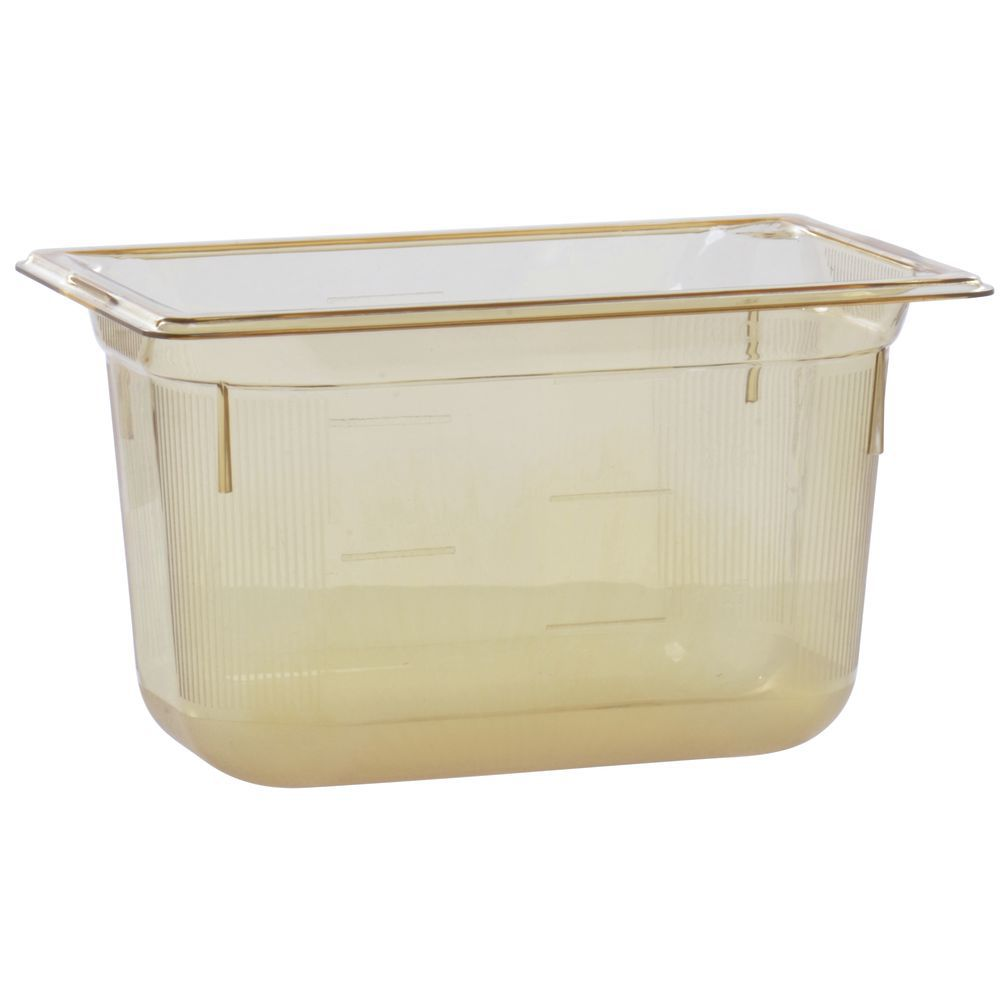 """Vollrath Super Pan Amber Plastic Buffet Pan HighTemp 1/4 Size 6""""D"""