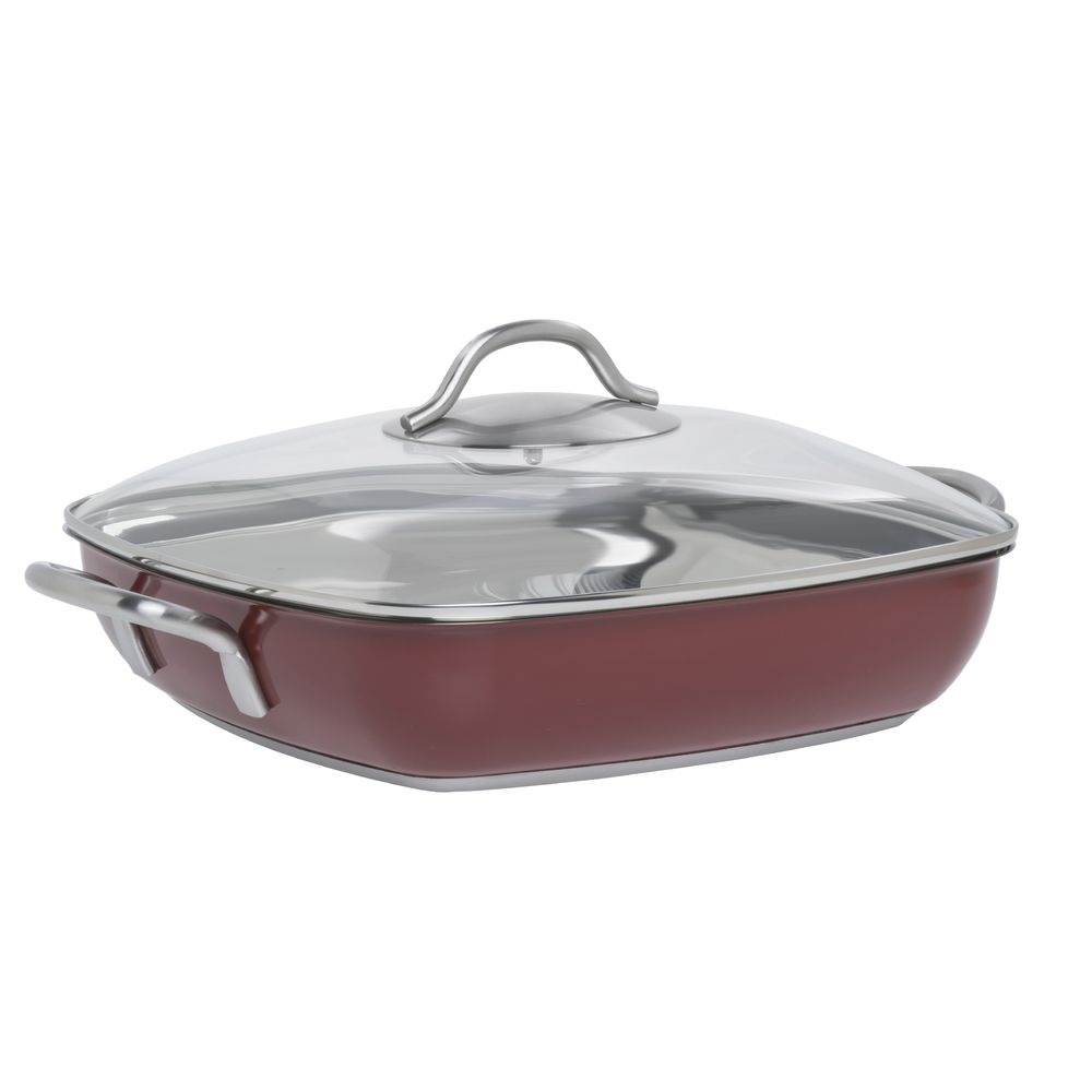 "Hubert® 11"" Red Stainless Steel Square Pan"