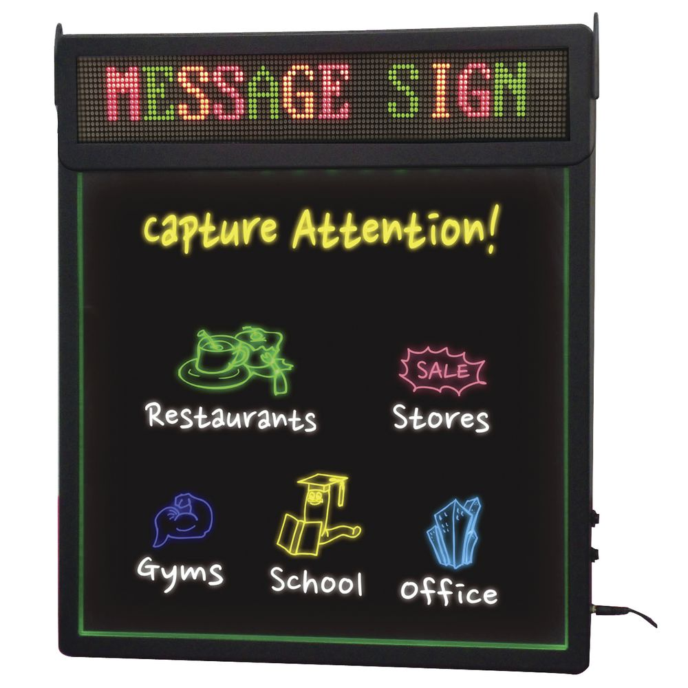 """LED Rewritable Sign With Scrolling Message 22""""L x 1 4/5""""W x 19""""H"""
