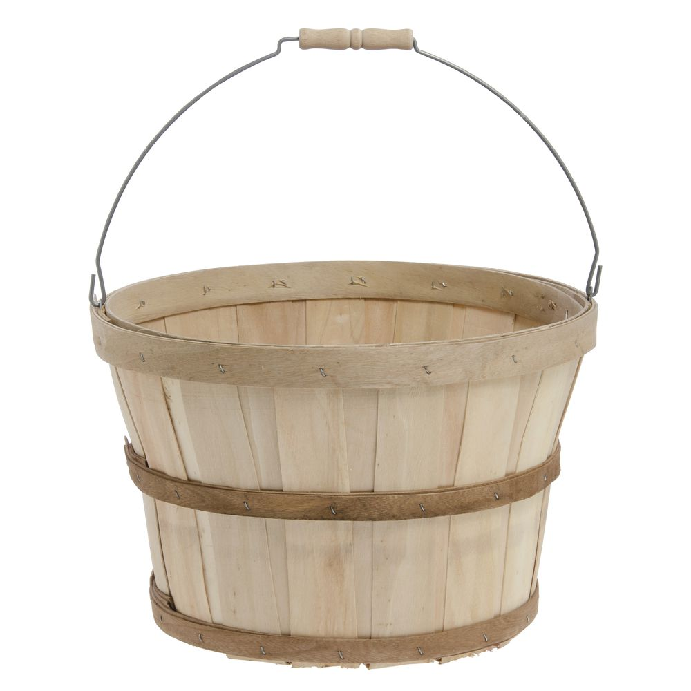 "Natural 1/2 Bushel Baskets with Bail Handle 14""Dia x 9 1/2""H"