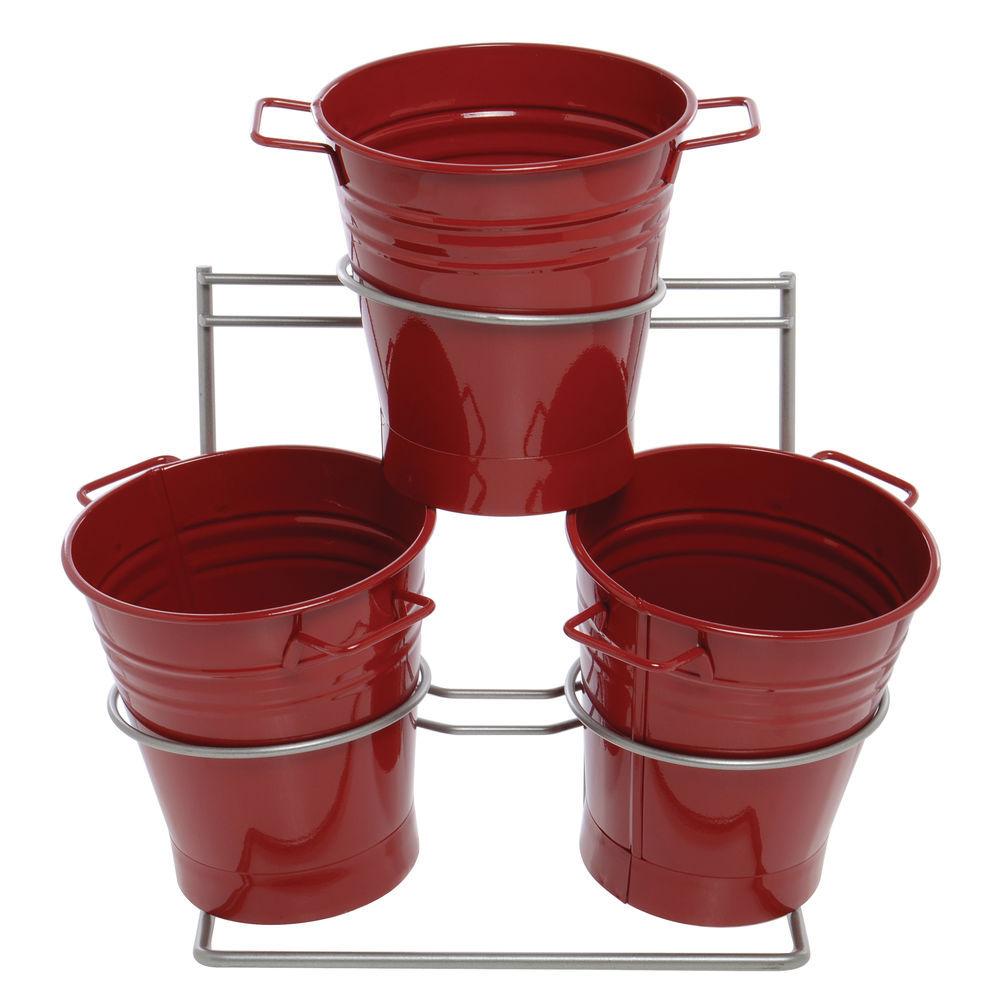 DISPLAY, METAL, W/3 RED TUBS, 16.5LX9WX17H