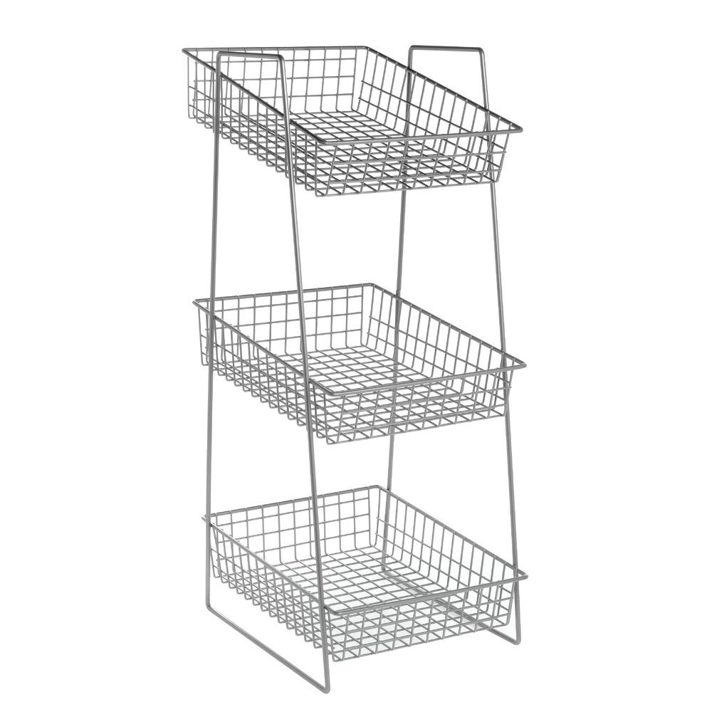 Small 3 Tier Metal Basket Stand for Countertop Use