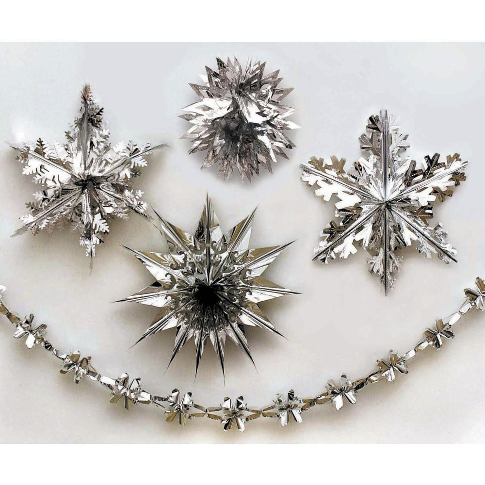 Shimmering Silver Metallic Snowflakes 2000 Sq Ft