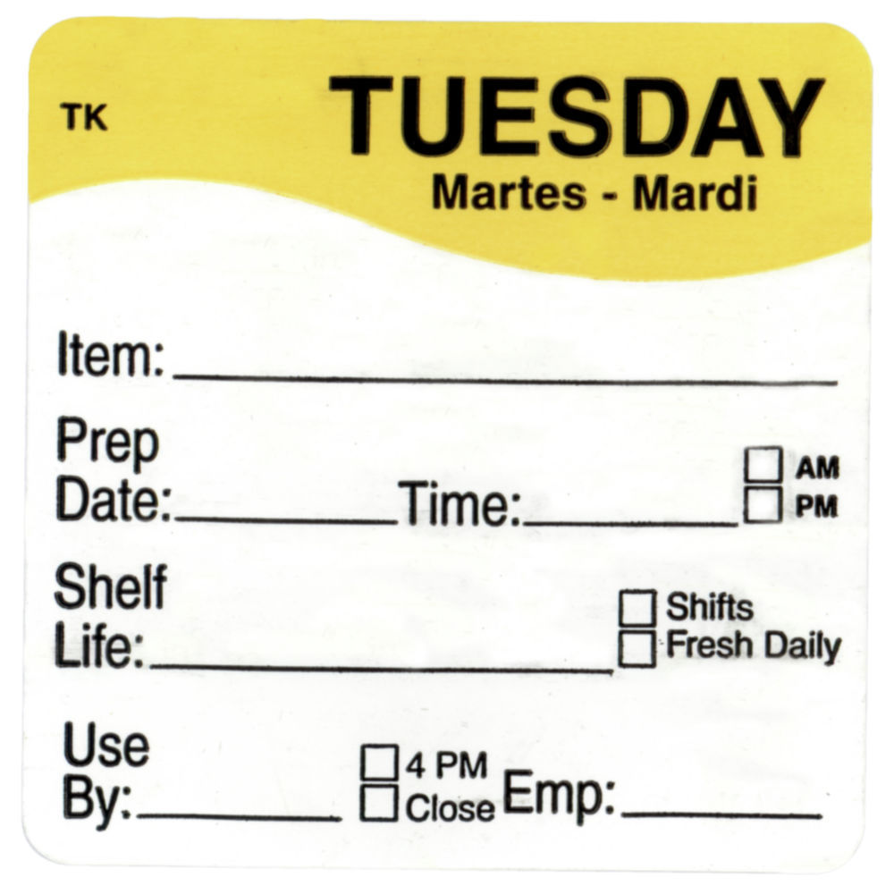 """ToughMark Days Of The Week Labels Yellow Tuesday 2"""" Square"""