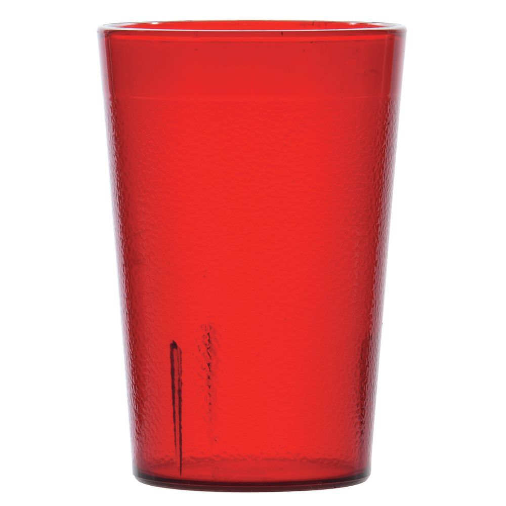 Carlisle Stackable 8 Oz Ruby Red San Plastic Pebbled Tumbler