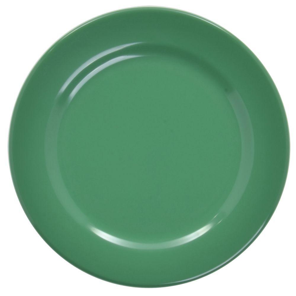 "Elite Rio Round Rim Plate 9"" Dia Autumn Green Melamine"