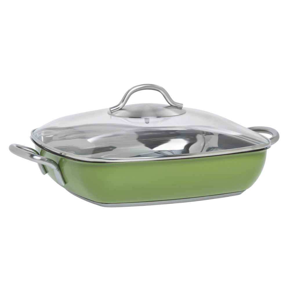"Hubert® 11"" Green Stainless Steel Square Pan"