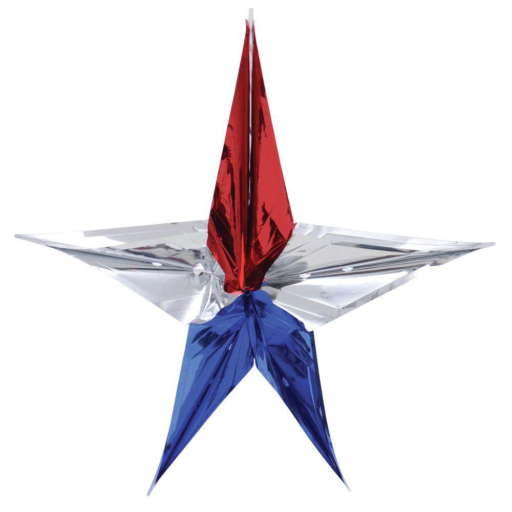 "STAR, 48"" METALLIC, RED/SILVER/BLUE"