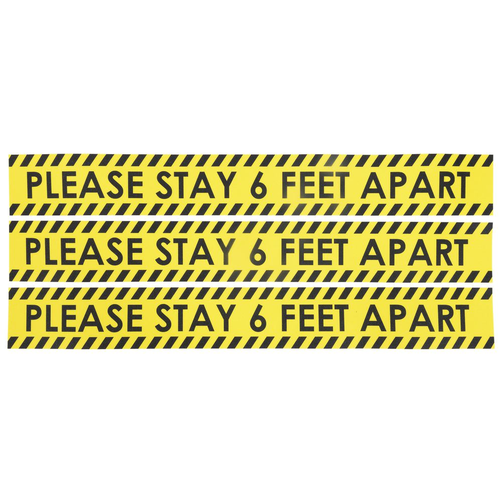 Expressly HUBERT® Yellow PVC Outdoor Please Stay 6 Feet