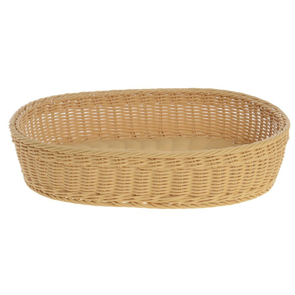 BASKET, OVAL, LIGHT BEIGE, 19LX13.5WX4H