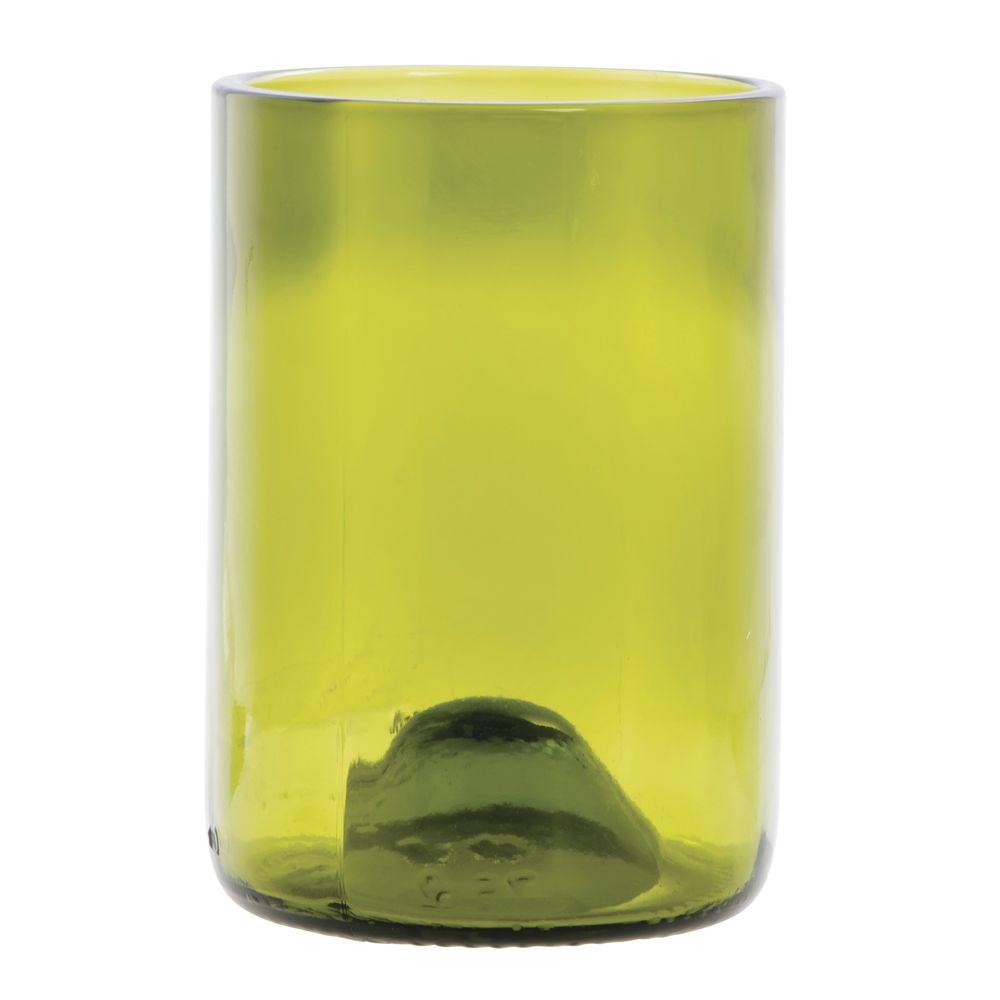 TUMBLER, WINE BOTTLE, GREEN GLASS, 12 OZ