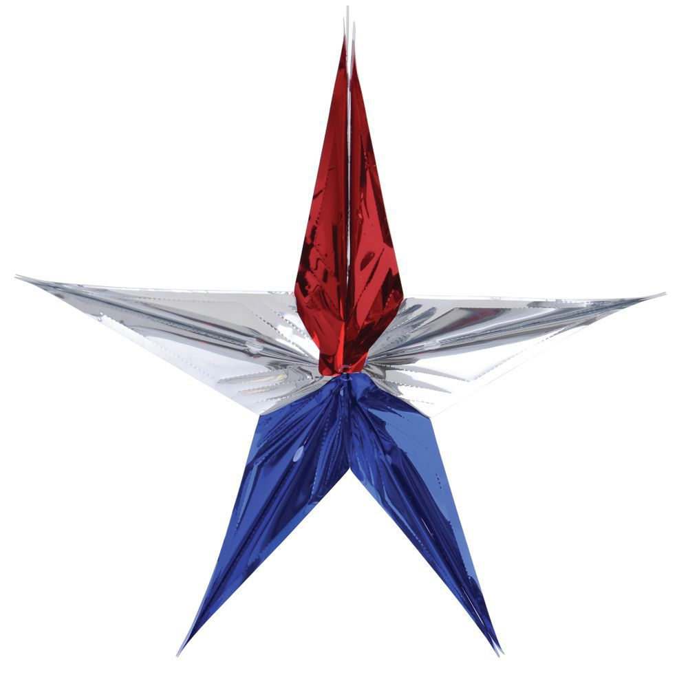 "STAR, 36"" METALLIC, RED/SILVER/BLUE"