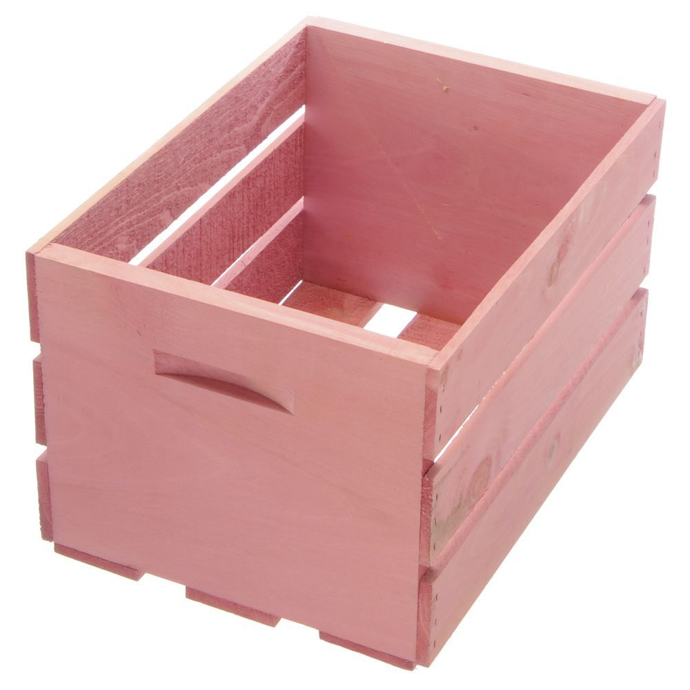 CRATE, WOOD, SMALL, RASPBERRY PINK