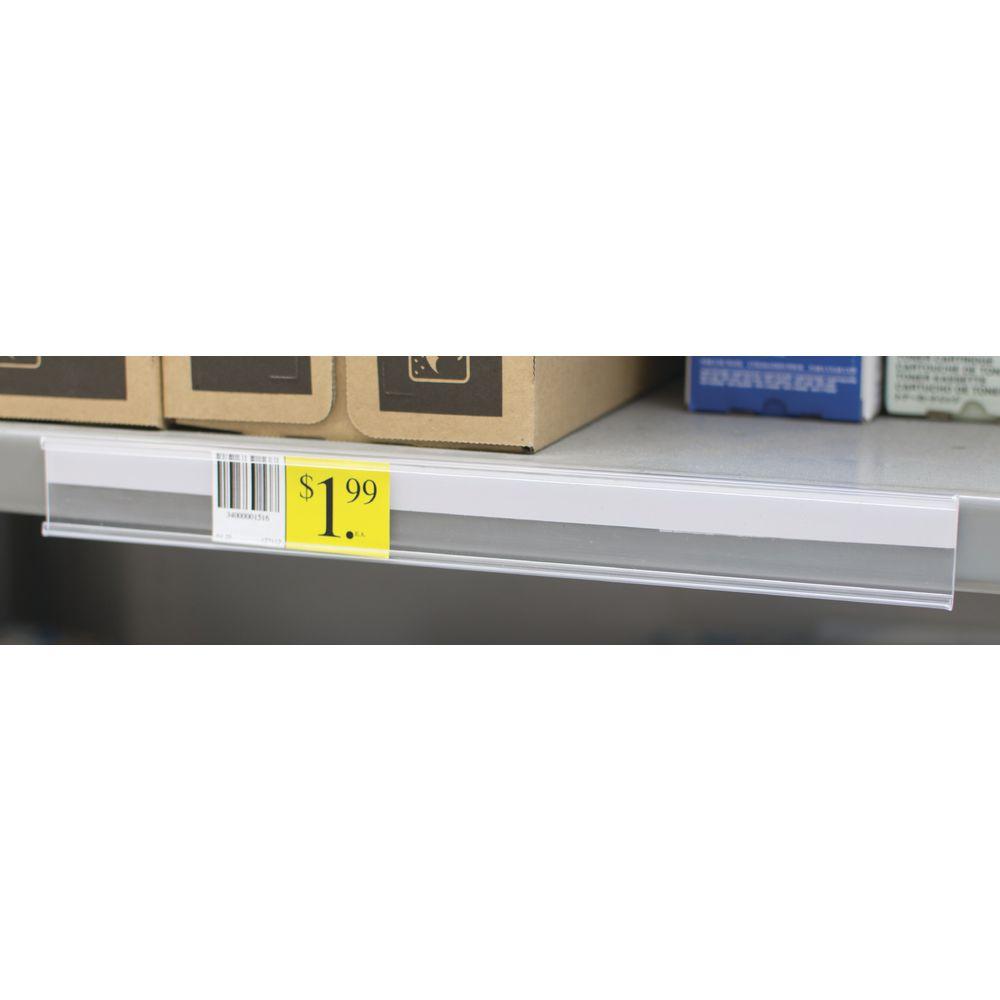 Flat Mount Shelf Molding with Self-Adhesive Edge View Black Plastic 48L x 1 1//4H