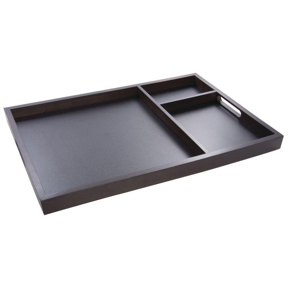 TRAY, CHALKBOARD, DIVIDED, WOOD, ESPRESSO