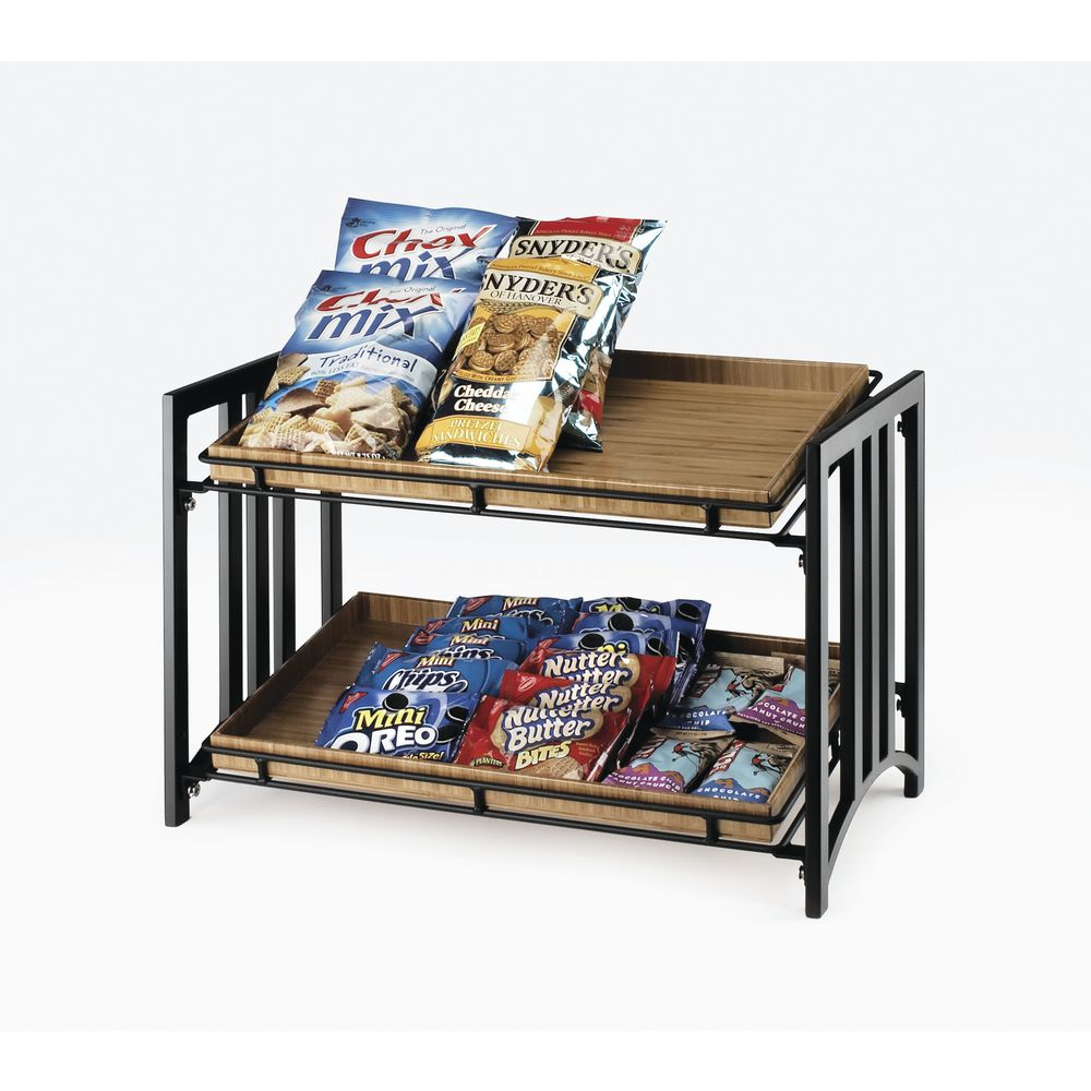 Cal-Mil Food Display Stands Black 2-Tier Mission Style
