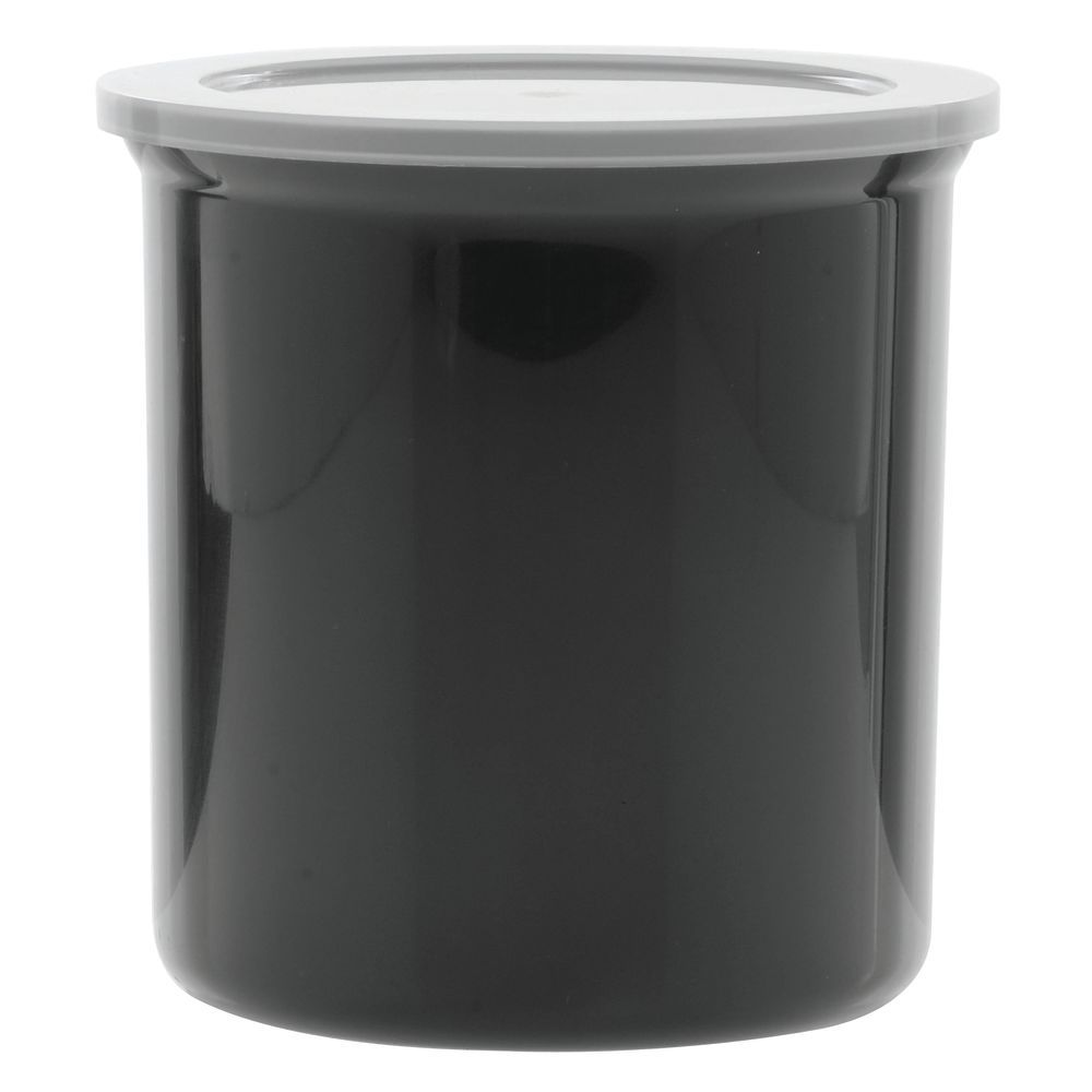 plastic crock with lid black 1.2 qt